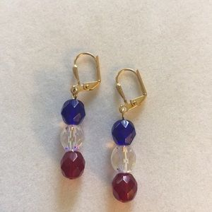 Red, Clear and Blue earrings